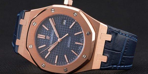 Swiss Audemars Piguet Royal Oak Blue Dial Gold Case Blue Leather Strap Piguet Replica